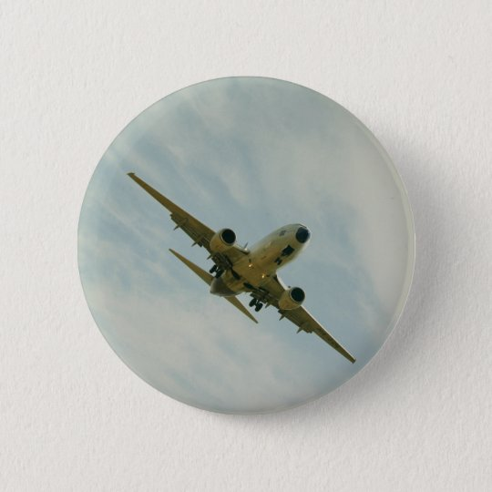 Plate with vintage airplane 6 cm round badge