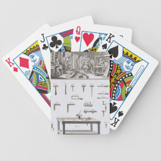 Plate XVIII: The instrument maker's workshop and t Bicycle Playing Cards