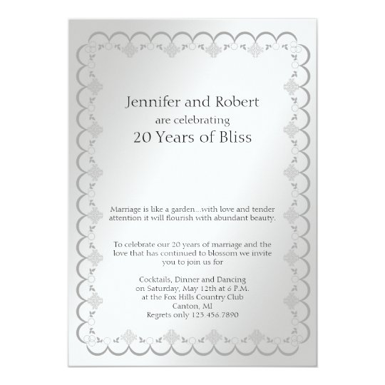 Platinum 20th Wedding Anniversary Card