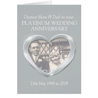 Platinum anniversary mom and dad photo card