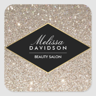 Platinum Glitter and Glamour Beauty Square Sticker