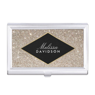 Platinum Glitter and Glamour Business Card Case