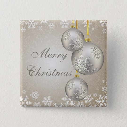 Platinum Gold Christmas Balls and Snow 15 Cm Square Badge