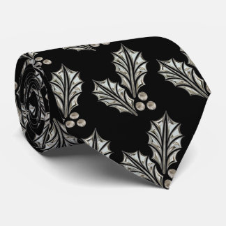 Platinum Silver Holly Christmas Tie