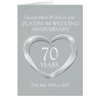 Platinum wedding anniversary mum and dad card