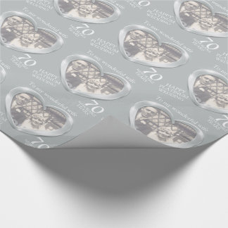 Platinum wedding anniversary photo wife wrap wrapping paper