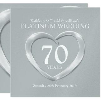 Platinum wedding heart 70 years anniversary invite