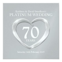 "Platinum wedding heart 70 years anniversary invite 5.25"" square invitation card"