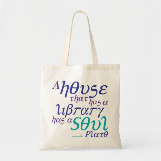 Plato Library Book Quote Tote Bag