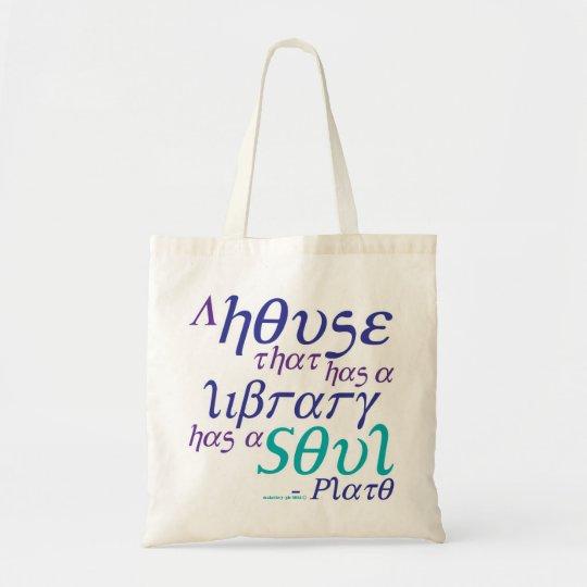 Plato Library Book Quote Tote Bag