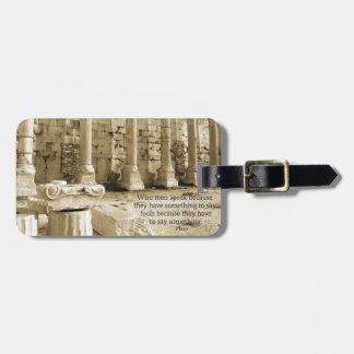 Plato philosophy quote about fools and wisdom luggage tag