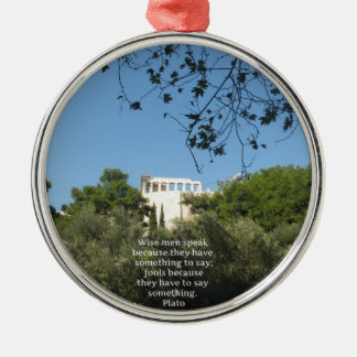Plato philosophy quote about fools and wisdom Silver-Colored round decoration