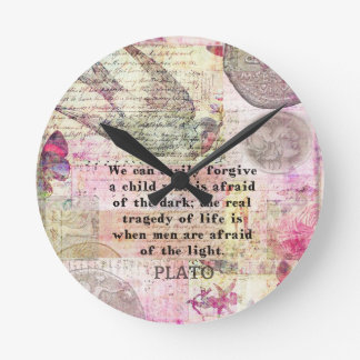 Plato quotation about life, dishonesty, fear wallclocks