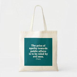 Plato Quote on Apathy towards Politics Budget Tote Bag