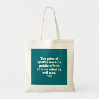 Plato Quote on Apathy towards Politics Tote Bag