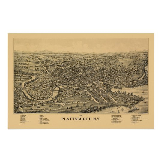 Plattsburgh, NY Panoramic Map - 1899 Poster