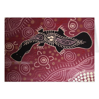 Platypus Dreaming Red by Mundara Koorang Card