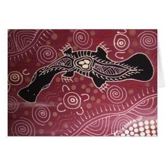 Platypus Dreaming Red by Mundara Koorang Greeting Card