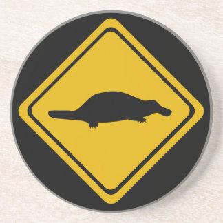 platypus road sign coaster