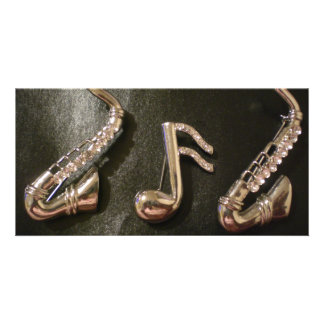Play a musical note on that Saxaphone Customized Photo Card
