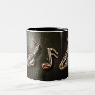 Play a musical note on that Saxophone Two-Tone Coffee Mug