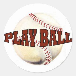 PLAY BALL #1 ROUND STICKER