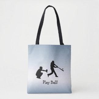 Play Ball Blue Baseball Sports Tote Bag