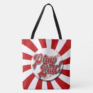 Play Ball! Red & White Baseball Tote