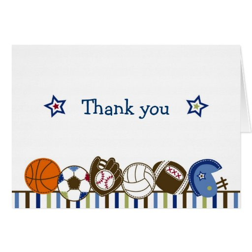 Play Ball Sports Thank You Note Cards