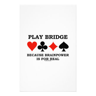 Play Bridge Because Brainpower Is For Real Customized Stationery