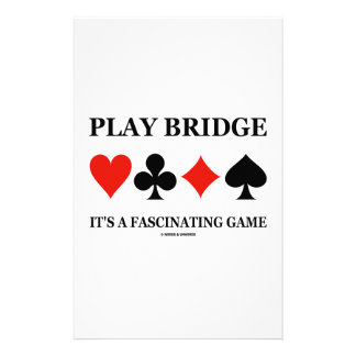 Play Bridge It's A Fascinating Game (Card Suits) Stationery Paper