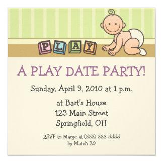 "Play Date Party Invitations 5.25"" Square Invitation Card"