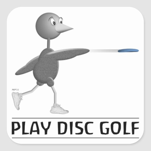 Play Disc Golf Square Stickers