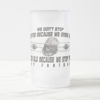 Play Football 16 Oz Frosted Glass Beer Mug