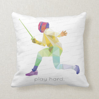 Play Hard Fencing Origami Cushion