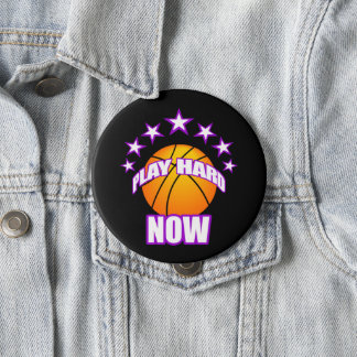 Play Hard Now - Basketball 10 Cm Round Badge