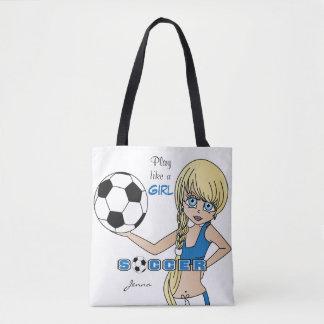 Play Like a Girl Blue Soccer Tote Bag