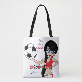 Play Like a Girl Red Soccer Tote Bag