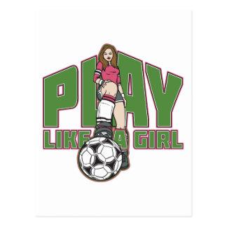 Play Like a Girl Soccer Postcard