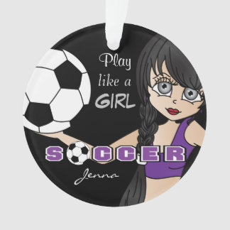 Play Like A Girl | Soccer | Purple and Black Ornament