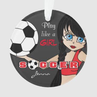 Play Like A Girl | Soccer | Red and Black Ornament