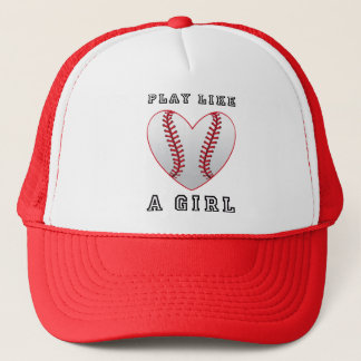 play like a girl softball trucker hat