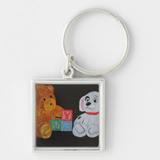 Play Mates Silver-Colored Square Key Ring