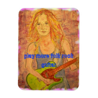 play more folk rock guitar rectangular photo magnet
