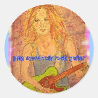 play more folk rock guitar round sticker