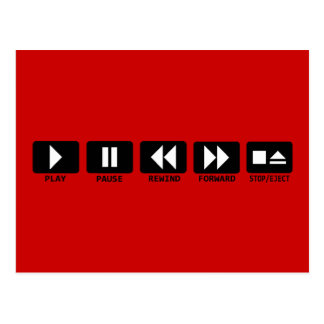 play pause rewind forward stop/eject post cards