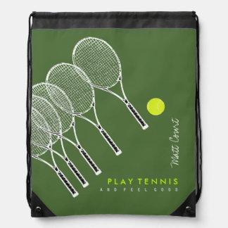 play tennis personalized drawstring bag