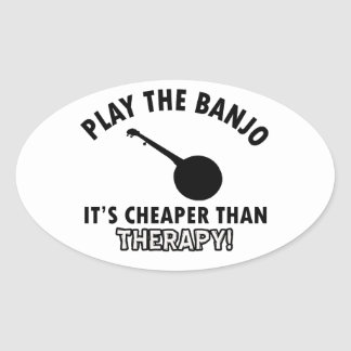 Play the Banjo Oval Sticker