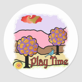 Play time round sticker