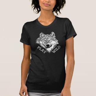 Play Wild Gray Hipster Wolf Head T-Shirt
